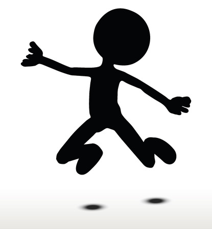 tied down: 3d man silhouette, isolated on white background, Jumping