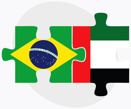 arab flags: United Arab Emirates and Brazil Flags in puzzle  isolated on white background
