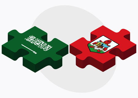 bermuda: Saudi Arabia and Bermuda Flags in puzzle  isolated on white background Illustration