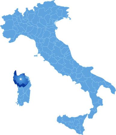 subdivision: Map of Italy where Sassari province is pulled out, isolated on white background