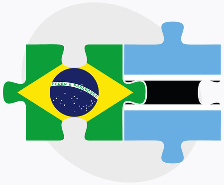 federative republic of brazil: Brazil and Botswana Flags in puzzle  isolated on white background