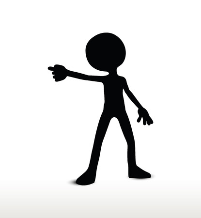 warning against a white background: 3d man silhouette, isolated on white background, draw a weapon Illustration