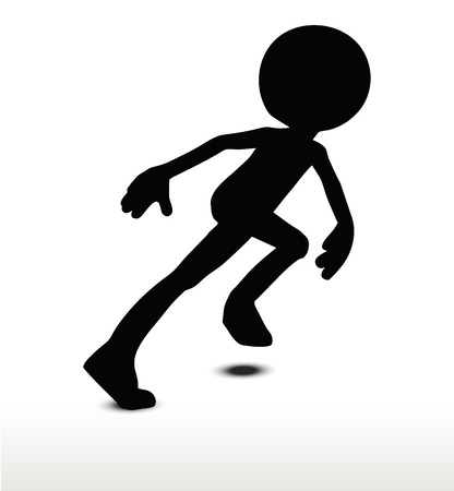 locomotion: 3d man silhouette, isolated on white background, Running