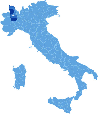 Map of Italy where Vercelli province is pulled out, isolated on white background