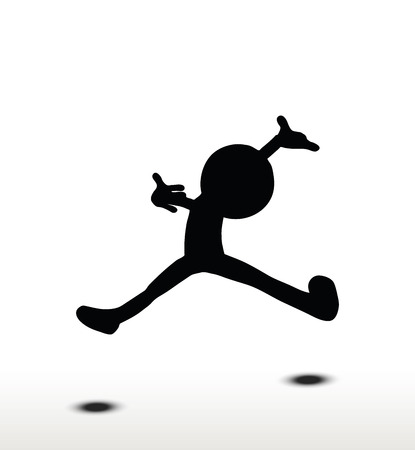 3d man silhouette, isolated on white background, cartwheeling