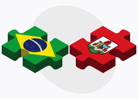 Brazil and Bermuda Flags in puzzle  isolated on white background