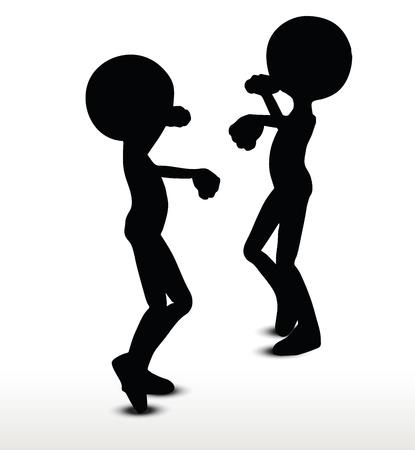 pelea: Silueta del hombre 3d, aislado en fondo blanco, pelea a puñetazos