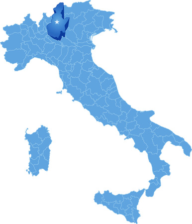subdivision: Map of Italy where Brescia province is pulled out, isolated on white background