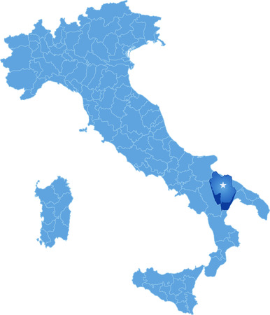 pulled: Map of Italy where Matera province is pulled out, isolated on white background Illustration
