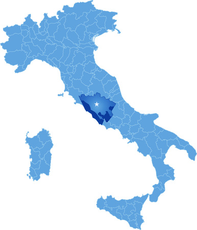withdraw: Map of Italy where Roma province is pulled out, isolated on white background Illustration