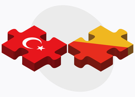 bhutan: Turkey and Bhutan Flags in puzzle  isolated on white background
