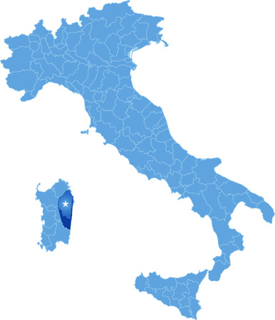 Map of Italy where Ogliastra province is pulled out, isolated on white background