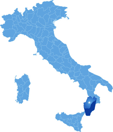 pulled out: Map of Italy where Reggio Calabria province is pulled out, isolated on white background
