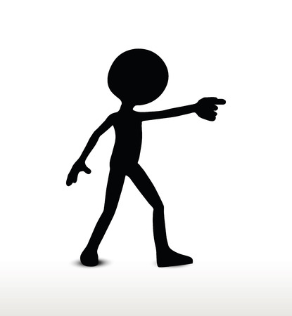 bulldoze: 3d man silhouette, isolated on white background, draw a weapon Illustration