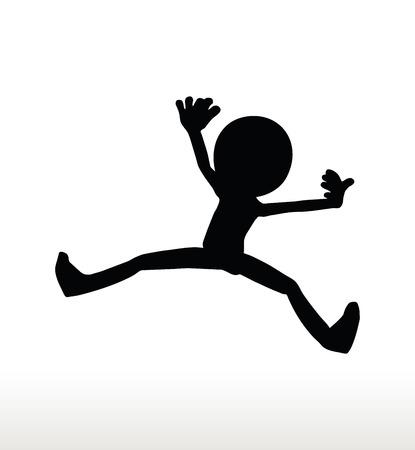 cartwheel: 3d man silhouette, isolated on white background, cartwheeling