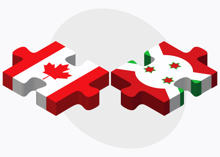 Canada and Burundi Flags in puzzle  isolated on white background