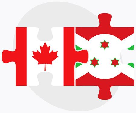 bujumbura: Canada and Burundi Flags in puzzle  isolated on white background