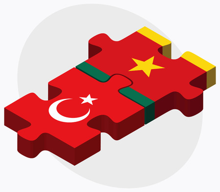 cameroonian: Turkey and Cameroon Flags in puzzle  isolated on white background Illustration