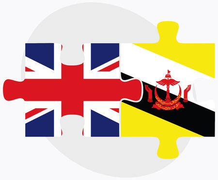 brunei darussalam: United Kingdom and Brunei Darussalam Flags in puzzle  isolated on white background