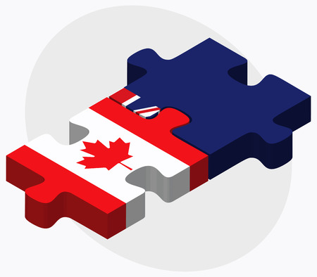 cayman islands: Canada and Cayman Islands Flags in puzzle isolated on white background