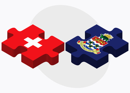 cayman islands: Switzerland and Cayman Islands Flags in puzzle isolated on white background