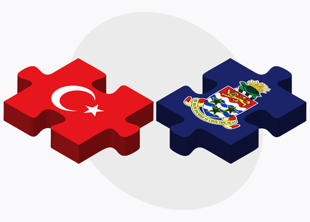 cayman: Turkey and Cayman Islands Flags in puzzle isolated on white background