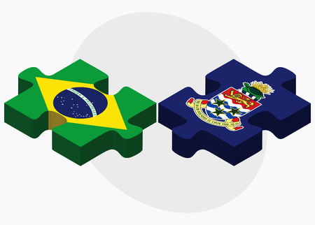 cayman islands: Brazil and Cayman Islands Flags in puzzle isolated on white background
