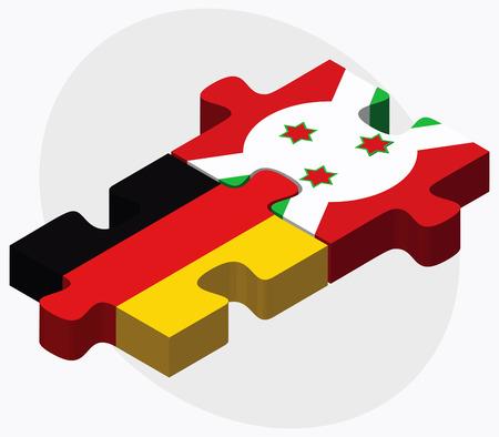 bujumbura: Germany and Burundi Flags in puzzle  isolated on white background Illustration