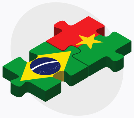 federative republic of brazil: Brazil and Burkina Faso Flags in puzzle  isolated on white background Illustration