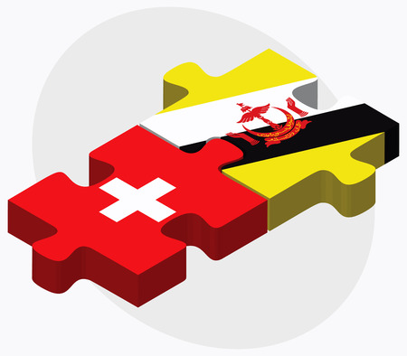 brunei darussalam: Switzerland and Brunei Darussalam Flags in puzzle  isolated on white background Illustration