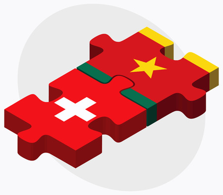 cameroon: Switzerland and Cameroon Flags in puzzle  isolated on white background