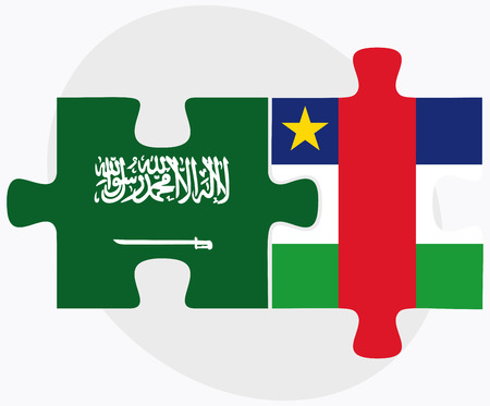 central african republic: Saudi Arabia and Central African Republic Flags in puzzle  isolated on white background