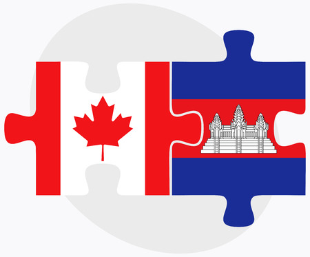 cambodian: Canada and Cambodia Flags in puzzle  isolated on white background Illustration