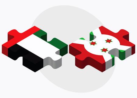 bujumbura: United Arab Emirates and Burundi Flags in puzzle  isolated on white background