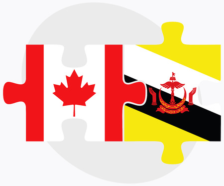 brunei darussalam: Canada and Brunei Darussalam Flags in puzzle  isolated on white background