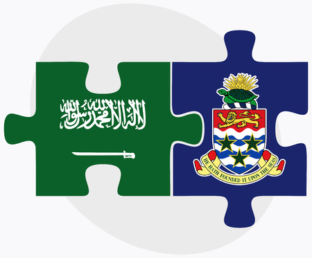 cayman islands: Saudi Arabia and Cayman Islands Flags in puzzle isolated on white background