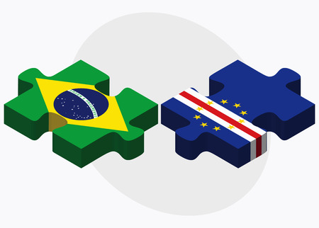 verde: Brazil and Cabo Verde Flags in puzzle  isolated on white background