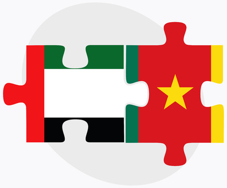 cameroonian: United Arab Emirates and Cameroon Flags in puzzle  isolated on white background