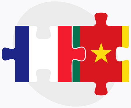 cameroonian: France and Cameroon Flags in puzzle  isolated on white background