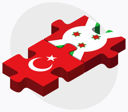 Turkey and Burundi Flags in puzzle  isolated on white background