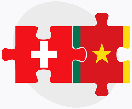 cameroonian: Switzerland and Cameroon Flags in puzzle  isolated on white background