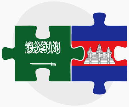 cambodian flag: Saudi Arabia and Cambodia Flags in puzzle  isolated on white background