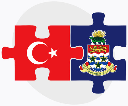 cayman islands: Turkey and Cayman Islands Flags in puzzle isolated on white background