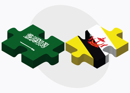 brunei darussalam: Saudi Arabia and Brunei Darussalam Flags in puzzle  isolated on white background