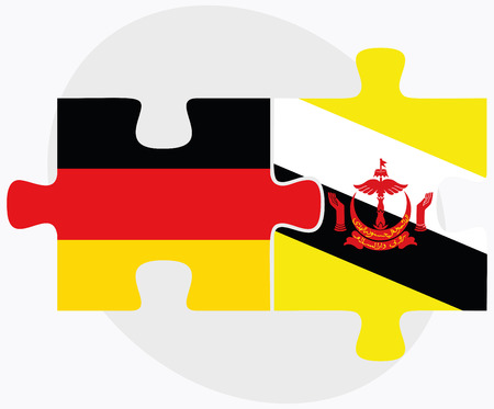 brunei darussalam: Germany and Brunei Darussalam Flags in puzzle  isolated on white background