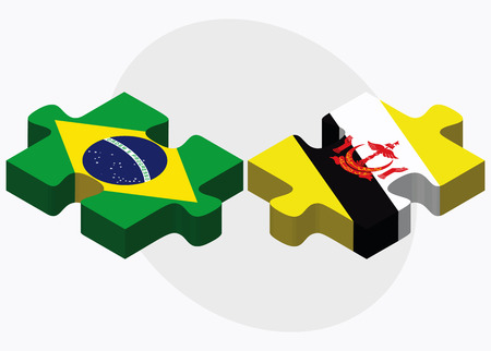 brunei darussalam: Brazil and Brunei Darussalam Flags in puzzle  isolated on white background