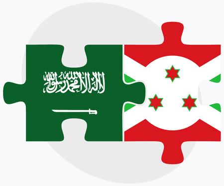bujumbura: Saudi Arabia and Burundi Flags in puzzle  isolated on white background