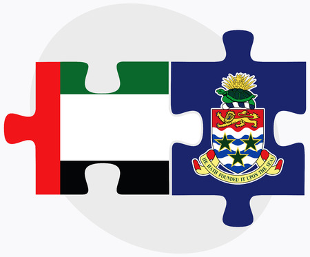 cayman: United Arab Emirates and Cayman Islands Flags in puzzle isolated on white background Illustration