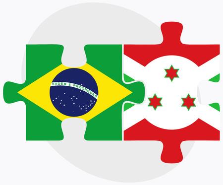 bujumbura: Brazil and Burundi Flags in puzzle  isolated on white background