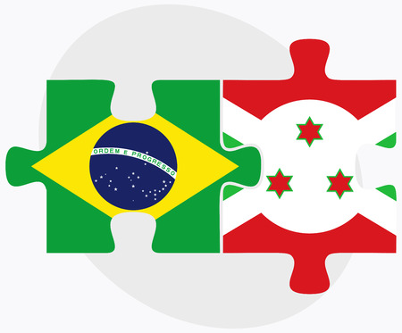 Brazil and Burundi Flags in puzzle  isolated on white background